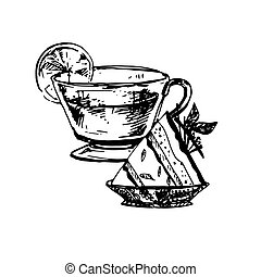Sketch of Food - Hand Drawn Sketch of Tea Cup and Delicious...