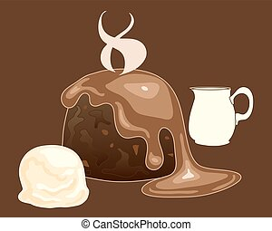 hot pudding - a vector illustration in eps 10 format of a...