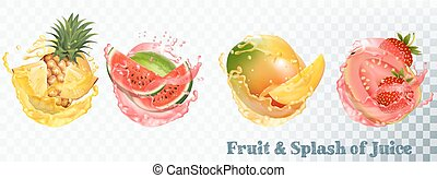 Set of fruit juice splash . Pineapple, strawberry,...