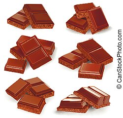 Realistic vector illustration, set of broken chocolate bars...