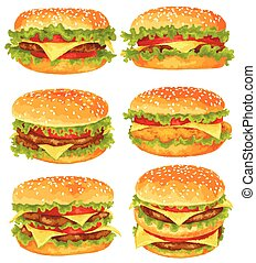 Modern watercolor design vector illustration, set of big burgers