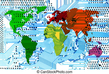 computer world - connectivity - Abstract image of the...