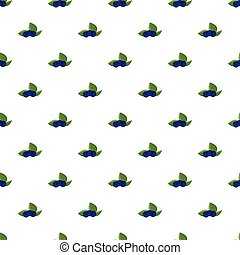 Ripe bilberries with green leaves pattern seamless repeat in...