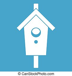 Birdhouse icon white isolated on blue background vector...