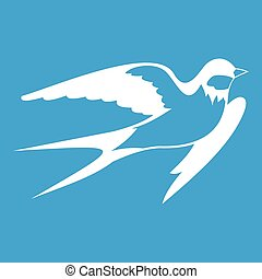 Barn swallow icon white isolated on blue background vector...