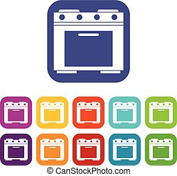 Gas stove icons set vector illustration in flat style in...