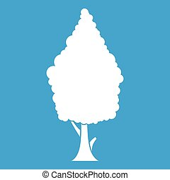 Cypress icon white isolated on blue background vector...