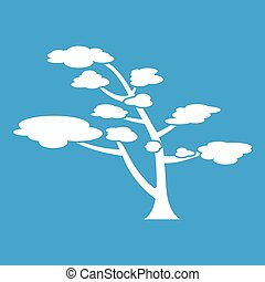 Cedar icon white isolated on blue background vector...