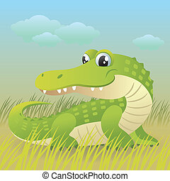Crocodile - Cartoon vector illustration of a cute baby...