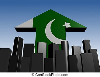 skyline and Pakistani flag arrow - abstract skyline and...