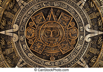 Close view of the aztec calendar - Close view of the ancient...