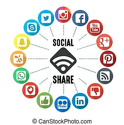 Social Share Background - Social Share Icons with White...