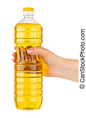 Hand with bottle of cooking oil