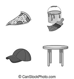 pizzeria, clothes and other monochrome icon in cartoon style.art, furniture icons in set collection.