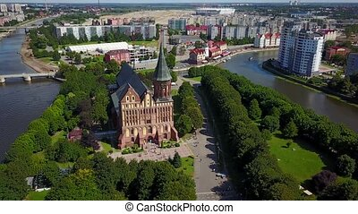 Aerial cityscape of Kant Island in Kaliningrad, Russia at...