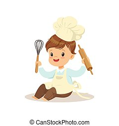 Cute little boy chef with whisk and rolling pin vector Illustration