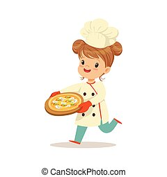 Cute little girl running with a freshly cooked pizza vector Illustration