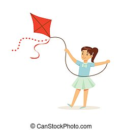 Beautiful girl playing with kite, kids outdoor activity...