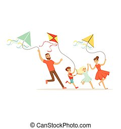 Happy family with two kids having fun flying kites, colorful character vector Illustration