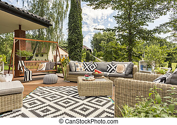 Perfect place for garden party - Shot of spacious terrace...