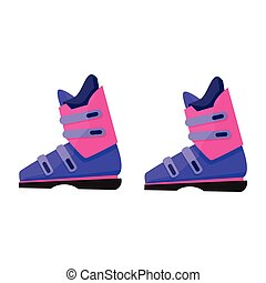 Pair of skiing, snowboarding boots, winter sport gear, flat illustration
