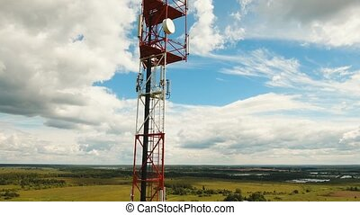 Telephone signal tower - Aerial view Cell phone tower. Tower...