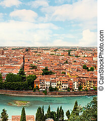 Panoramic view to City of Verona with river at sunny day at...