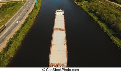 Aerial view:Barge on the river. - Aerial view:Barge with...