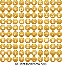 100 national holiday icons set gold - 100 national holiday...