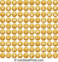 100 multimedia icons set gold