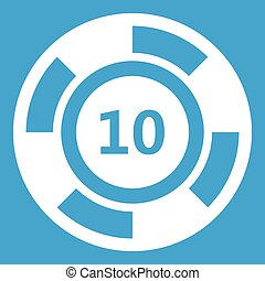Casino chip icon white isolated on blue background vector...