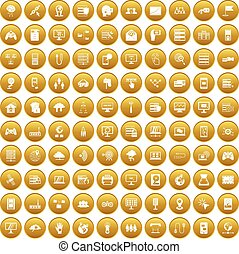 100 network icons set gold - 100 network icons set in gold...