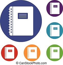 Spiral notepad icons set