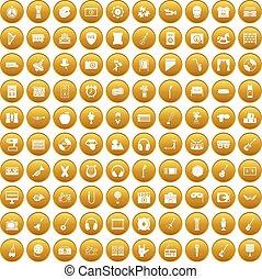 Conjunto, oro, iconos,  100, educación,  musical