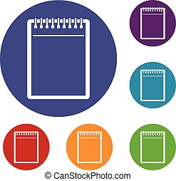 Blank spiral notepad icons set