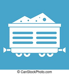 Train waggon with coal icon white isolated on blue...