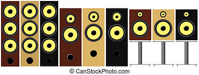 Loudspeakers - Set of different types and colors of...