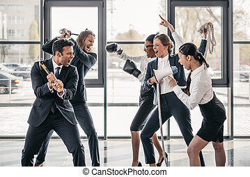 young multicultural business teams yelling and quarreling in office
