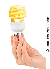 Hand with lighting lamp