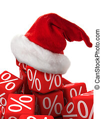 Christmas discount - Symbol of percent and a christmas hat