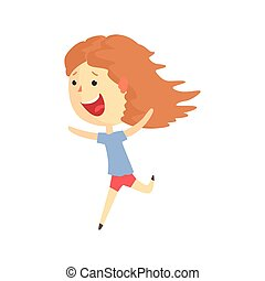 Happy smiling cartoon girl running, kids outdoor activity in summer vacation colorful character vector Illustration