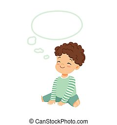 Adorable little boy dreaming with a thought bubble, kids imagination and fantasy, colorful character vector Illustration