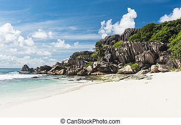 Grand Anse beach - Beautifully shaped granite boulders and a...