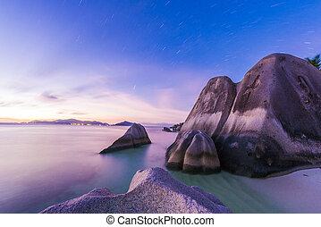 Anse Source d'Argent - Star trails over famous granite...