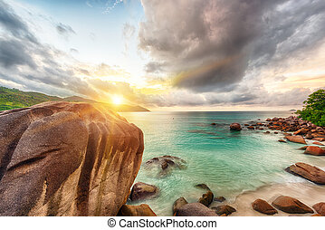 Anse Lazio - Beautiful sunset over the famous beach Anse...