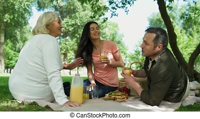 Cheerful family having a picnic in the park - Joyful mood....