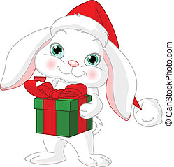 Little rabbit with Christmas gift - Little rabbit in a...