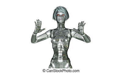 Digital 3D Animation of a dancing female Cyborg