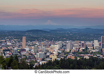 Alpenglow over Portland Oregon Cityscape