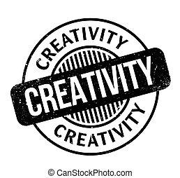 Creativity rubber stamp. Grunge design with dust scratches....